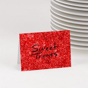 Jolly Red Faux Glitter Table Cards -- Party Decorations