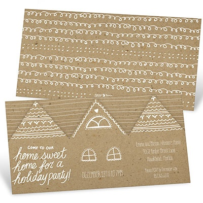 Gingerbread Houses Holiday Party Invitations