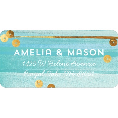 Watercolor & Faux Sequins Christmas Address Labels