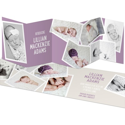 Girl Snapshots Five Panel Birth Announcements