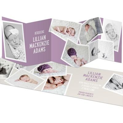 Snapshots Five Panel Baby Girl Announcements