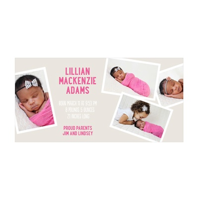 Photo Paper Precious Girl Moments Birth Announcements