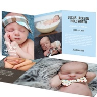New Arrival Trifold Baby Boy Announcements