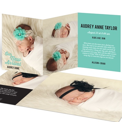 New Arrival Trifold Baby Girl Announcements