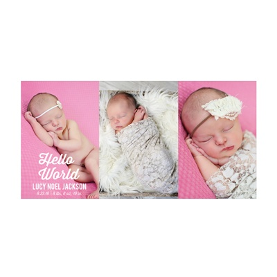 Photo Paper Times Three Girl Birth Announcements