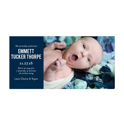 Photo Paper Boy Cuteness Birth Announcements
