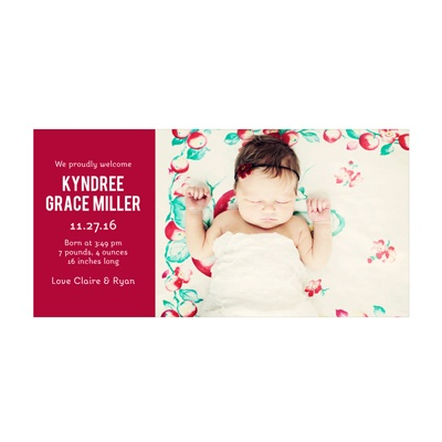 Photo Paper Girl Cuteness Birth Announcements