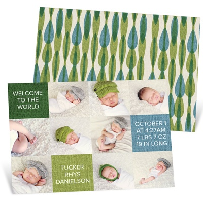 Baby Boy Photo Blocks Birth Announcements