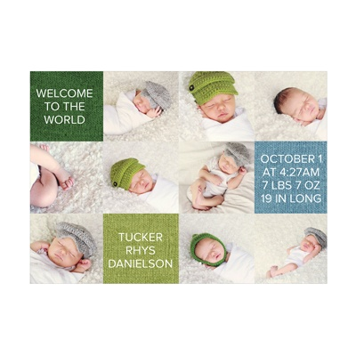 Photo Paper Adorable Squares Baby Boy Announcements
