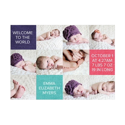 Photo Paper Adorable Squares Baby Girl Announcements