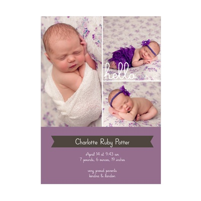 Hello Girl Collage Birth Announcements