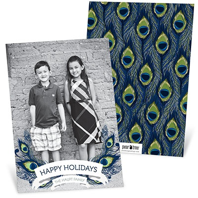 Patterned Peacock Holiday Photo Cards