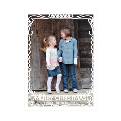 Photo Paper Scrollwork Border Christmas Cards