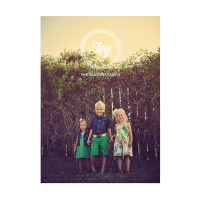 Photo Paper Joy Wreath Vertical Holiday Photo Cards