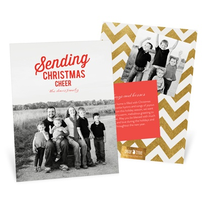Moveable Cheer Vertical Holiday Photo Cards
