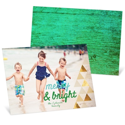Faux Foil Triangles Holiday Photo Cards