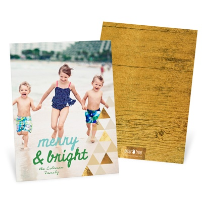 Faux Foil Triangles Vertical Holiday Photo Cards