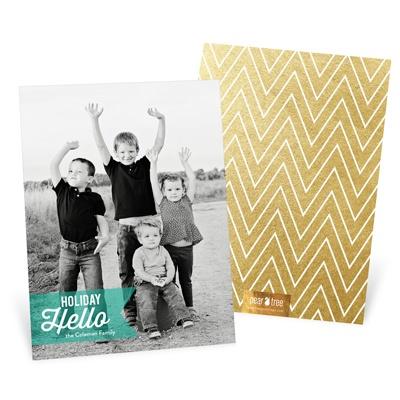 Ribbon Greeting Vertical Holiday Photo Cards