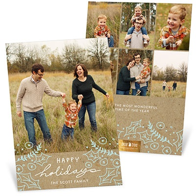 Happy Holly Kraft Christmas Cards