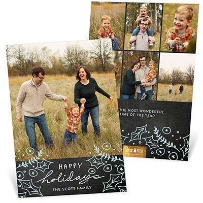 Happy Holly Chalkboard Christmas Cards