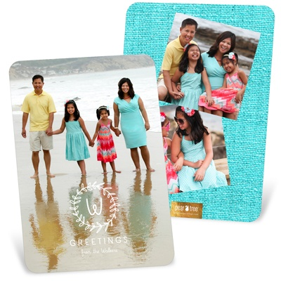 Monogram Wreath Vertical Holiday Photo Cards