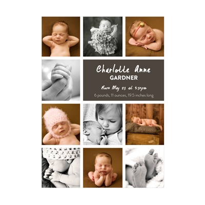 Photo Paper Insta-Announcement Girl Birth Announcements