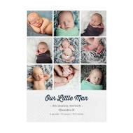Photo Paper Textured Details Collage Baby Boy Announcements