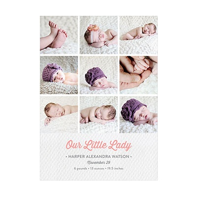 Photo Paper Her Textured Details Collage Birth Announcements
