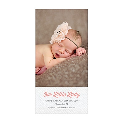 Photo Paper Her Textured Details Birth Announcements