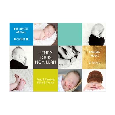 Photo Paper Boy Color Blocks Birth Announcements