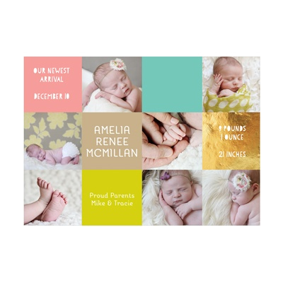 Photo Paper Girl Color Blocks Birth Announcements