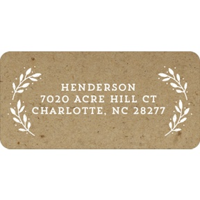 Evergreen Greeting On Kraft Paper -- Christmas Address Labels