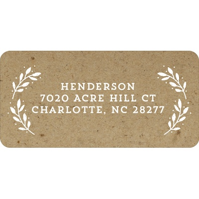 Evergreen Greeting On Kraft Paper Christmas Address Labels