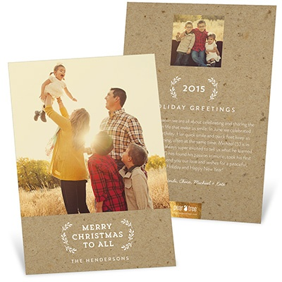 Evergreen Greeting On Kraft Paper Holiday Photo Cards