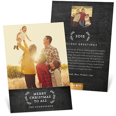 Evergreen Greeting On Chalkboard Holiday Photo Cards