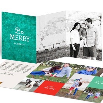 Rubbed Color Trifold Holiday Photo Cards