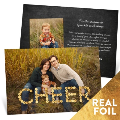 Foil Sequined Cheer Holiday Photo Cards
