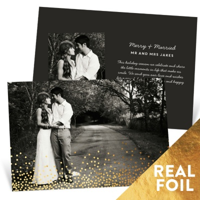 Falling Foil Snow Holiday Photo Cards