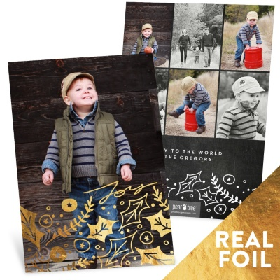 Joyous Holly Foil Christmas Cards