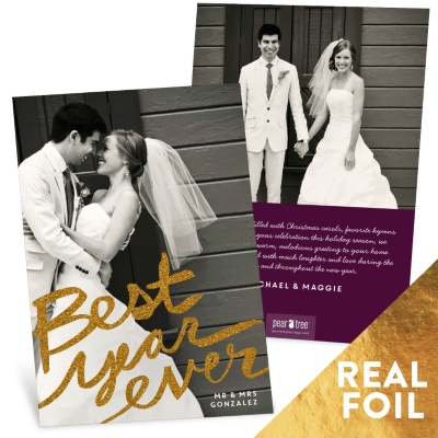 Best Year Foil Holiday Photo Cards
