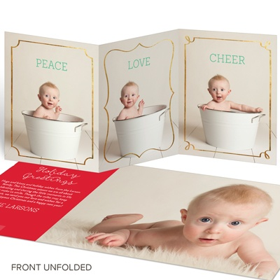 Three Faux-Foil Frames Holiday Photo Cards