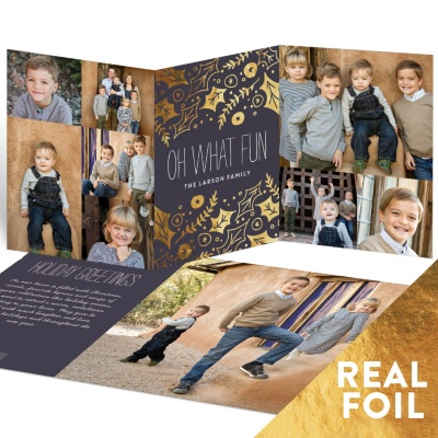 Happy Holly Foil Trifold Holiday Photo Cards