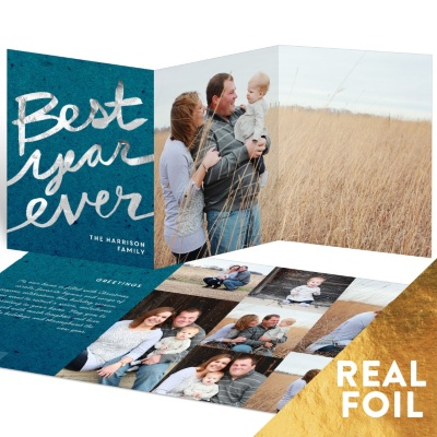 Best Year Foil Trifold Holiday Photo Cards