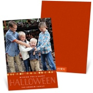 String Of Sequins Orange Halloween Photo Cards