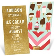Cake & Ice Cream Kids Birthday Invitations