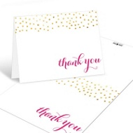 Showered With Gold Bridal Shower Thank You Cards