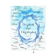 Watercolor Wreath Guest Book Print