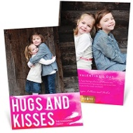 Pink Watercolor World Valentine's Day Photo Cards