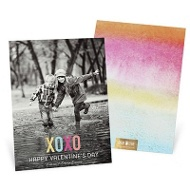 XOXO Foil Look Vertical Valentine's Day Photo Cards