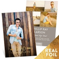 Hand Lettered Vertical Gold Foil Graduation Announcements
